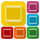 Film Frame icons set with long shadow Royalty Free Stock Images