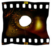 Film Frame Melted. 35mm heat damaged photographic film isolated on white background Stock Photo