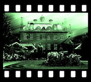 Film frame photo edge and old house drawing Royalty Free Stock Photo