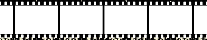 Film Frame (x4_3). Film Strip (4 Frames, with numbers and film code Vector Illustration