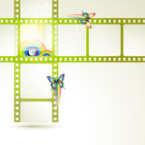 Film frames. With butterflies and colored circles Stock Image