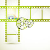 Film frames. With colored circles stock illustration