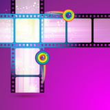Film frames. With colored circles vector illustration