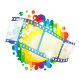 Film frames. Over colorful background Stock Photo