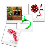 Film Frames. Several instant film frames on an isolated white background with Christmas scenes Stock Images