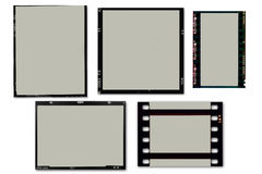 Film Frames. Set of 5 film frames (Photography or Movie) that can be used as frames for your own images. enjoy Royalty Free Stock Images
