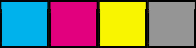 Film frames. Four film frames showing, cyan, magenta, yellow and black colours which are the four process printing inks used in traditional four colour printing Royalty Free Stock Images