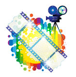 Film frames with camera. Over colorful background Stock Photo