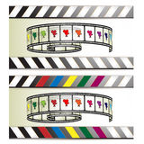 Film frames with colored camera. Film frames, camera and colored stripes stock illustration