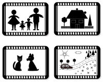 Film frames for family album,vector. Black and white family themes, object isolated Royalty Free Stock Image