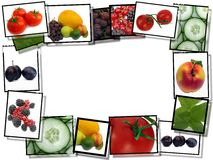 Film frames with fresh food images vector illustration
