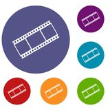 Film with frames icons set. In flat circle reb, blue and green color for web Royalty Free Stock Photo