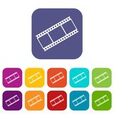 Film with frames icons set Royalty Free Stock Photography