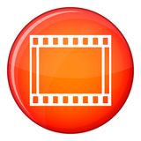 Film with frames movie icon, flat style. Film with frames movie icon in red circle isolated on white background vector illustration Royalty Free Stock Image