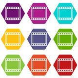 Film with frames movie icon set color hexahedron. Film with frames movie icon set many color hexahedron isolated on white vector illustration Royalty Free Stock Image