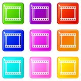 Film with frames movie icons 9 set. Film with frames movie icons of 9 color set isolated vector illustration Stock Image