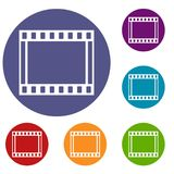 Film with frames movie icons set. In flat circle reb, blue and green color for web Stock Photography