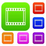 Film with frames movie set collection. Film with frames movie set icon in different colors isolated vector illustration. Premium collection Royalty Free Stock Photography