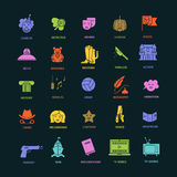 Film genre icon set. Vector set of movie genres flat  icons  on dark background. Different film genre elements perfect for infographic or mobile app Royalty Free Stock Photo