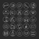 Film genre icon set. Vector set of movie genres line icons  on dark background. Different film genre elements perfect for infographic or mobile app Stock Image