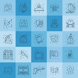 Film genre icon set. Vector set of movie genres line icons isolated on background. Different film genre elements perfect for infographic or mobile app Royalty Free Stock Photos