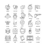Film genre icon set. Vector set of movie genres line icons isolated on white background. Different film genre elements perfect for infographic or mobile app Royalty Free Stock Photo