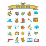 Film genre icon set. Vector set of movie genres line icons isolated on white background. Different film genre elements perfect for infographic or mobile app Stock Photos