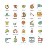 Film genre icon set. Vector set of movie genres line icons isolated on white background. Different film genre elements perfect for infographic or mobile app Royalty Free Stock Images