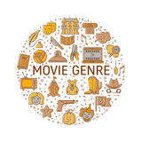 Film genre icon set Royalty Free Stock Photos