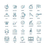 Film genre icon set. Vector set of movie genres line icons  on white background. Different film genre elements perfect for infographic or mobile app Stock Image