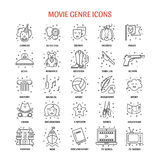 Film genre icon set. Vector set of movie genres line icons  on white background. Different film genre elements perfect for infographic or mobile app Stock Photography