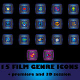 Film genre icons. 15 film genre icons + premiere and 3D session Royalty Free Stock Photos