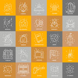 Film genre set. Vector set of movie genres line icons isolated on  background. Different film genre elements perfect for infographic or mobile app Stock Image