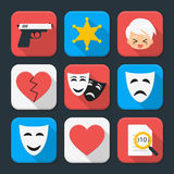 Film genre squared app icon set Stock Photo