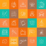 Film genre. Vector set of movie genres line icons  on background. Different film genre elements perfect for infographic or mobile app Stock Photography