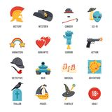 Film Genres Icon Set. With drama adventure detective pirate isolated vector illustration Royalty Free Stock Image