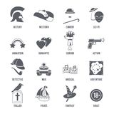 Film Genres Icons Black Set. With history western comedy sci-fi symbols isolated vector illustration Stock Images