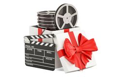 Film gift concept, 3D rendering. Isolated on white background Royalty Free Stock Photo