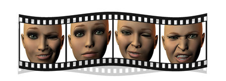 Film with girl faces in 3D isolated on white. Background Stock Images