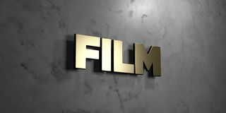 Film - Gold sign mounted on glossy marble wall  - 3D rendered royalty free stock illustration. This image can be used for an online website banner ad or a Royalty Free Stock Images