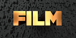 Film - Gold text on black background - 3D rendered royalty free stock picture. This image can be used for an online website banner ad or a print postcard Royalty Free Stock Images