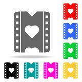A film with a heart icon. Elements of romance in multi colored icons. Premium quality graphic design icon. Simple icon for website. S, web design, mobile app royalty free illustration