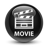Film (het pictogram van de bioskoopklem) glazige zwarte ronde knoop Royalty-vrije Stock Afbeeldingen