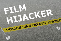 Film Hijacker concept. 3D illustration of FILM HIJACKER title on the ground in a police arena Stock Photos