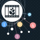 Film Icon with the background to the point and infographic style. Film Icon with the background to the point and with infographic style. illustration Royalty Free Stock Photography