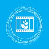 Film Icon on a blue background with abstract circles around and place for your text. Illustration Royalty Free Stock Photography