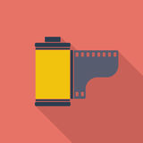 Film icon. Flat vector related icon with long shadow for web and mobile applications. It can be used as - logo, pictogram, icon, infographic element. Vector Royalty Free Stock Image