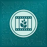 Film Icon on a green background, with arrows in different directions. It appears the electronic board. Film Icon on a green background, with arrows in different Stock Images