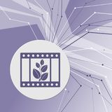 Film Icon on purple abstract modern background. The lines in all directions. With room for your advertising. Illustration Royalty Free Stock Images
