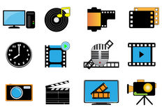 Film icon set Stock Photo